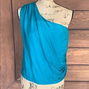 Alice + Olivia 1-Shoulder Turquoise Silk Blouse S
